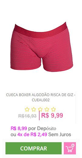 Cueca Boxer Algodão Risca de Giz - CUEAL002